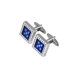 CK-07 | Pixelated Fancy Vibrant Blue Square Premium Silver Cuff Links
