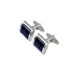 CK-08 | Luxurious Blue Windowed Premium Silver Cuff Links