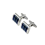 CK-09 | Ocean and Sea Blue Striped Premium Silver Cuff Links