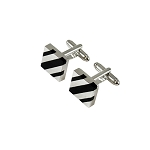 CK-10 | Black and Silver Diagonal Striped Premium Silver Cuff Links