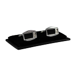 CL-21 | Men's Silver and Black Rectangular Cufflinks