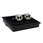 CK-01 | Premium Large Black and White Pin Wheel Silver Cuff Links