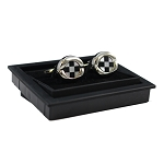 CK-02 | Premium Large Black and White Checkers Silver Cuff Links