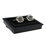 CK-03 | Premium Small Black and White Checkers Silver Cuff Links