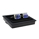 CK-09 | Premium Ocean and Sea Blue Striped Silver Cuff Links