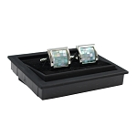 CK-11 | Premium Large Aqua Blue Pixelated Silver Cuff Links