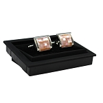 CK-12 | Premium Large Peach Pixelated Silver Cuff Links