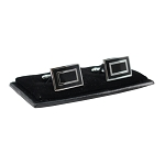 CL-03 | Men's Silver and Black Rectangular Cufflinks