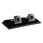 CL-18 | Men's Silver and Black Square Cufflinks