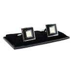 CL-19 | Men's Silver and Black Square Cufflinks