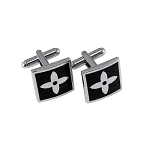 CL-26 | Men's Silver and Black Square Cufflinks