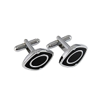 CL-29 | Men's Silver and Black Oval Cufflinks