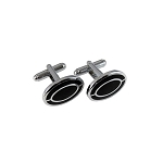 CL-03 | Men's Silver and Black Oval Cufflinks