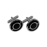 CL-07 | Men's Silver and Black Circular Cufflinks