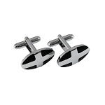CL-26 | Men's Silver and Black Oval Cufflinks