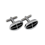 CL-40 | Men's Silver and Black Oval Cufflinks