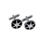 CL-60 | Men's Silver and Black Circular Cufflinks