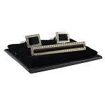 CS-01 | Men's Accented Silver and Black Rectangular Cufflink & Tie Bar Set