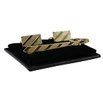 CS-05 | Men's Diagonal Striped Golden Necktie Cufflink & Tie Bar Set