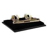 CS-09 | Men's Accented Gold and Black Emblem Cufflink & Tie Bar Set