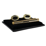 CS-11 | Men's Accented Gold and Black Oval Cufflink & Tie Bar Set
