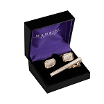 CS-02 | Men's Accented Rectangular Octagonal Brushed Gold Cufflink & Tie Bar Set
