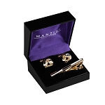 CS-03 | Men's Rounded Silver and Black with Accented Gold Trianglular Cufflink & Tie Bar Set