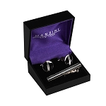 CS-04 | Men's Rounded Silver and Black Cufflink & Tie Bar Set