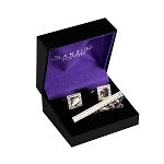 CS-08 | Men's Vintage Silver Mirror Cufflink & Tie Bar Set