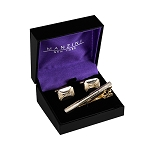 CS-10 | Men's Webbed Gold and Silver Octagonal Rectangular Cufflink & Tie Bar Set