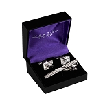 CS-12 | Men's Bordered Silver Cufflink & Tie Bar Set