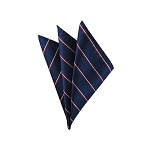 DH-107A | Red and White narrow stripes on Navy Blue Men's Woven Handkerchief