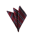 DH-108B | Traditional White Border Navy Stripes on Burgundy Men's Woven Handkerchief