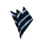 DH-109A | Light Blue and White Stripes on Navy Men's Woven Handkerchief
