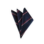 DH-111 | Red and White Parallel Stripes on Navy Men's Woven Handkerchief