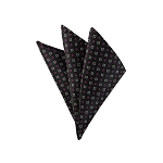 DH-120C | Fucshia and White Geometric Pixels on Black Textured Men's Woven Handkerchief