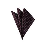 DH-127 |Fucshia Geometrics on Black Men's Woven Handkerchief