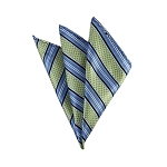 DH-129B | Pear Green and Steel Blue Weave Split Striped Men's Woven Handkerchief