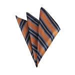 DH-129C | Burnt Orange, Navy Blue and Copper Weave Split Striped Men's Woven Handkerchief
