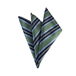 DH-129D | Sage Green, Navy Blue and Powder Blue Weave Split Striped Men's Woven Handkerchief