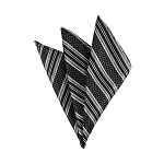 DH-129E | Black and SIlver Weave Split Striped Men's Woven Handkerchief