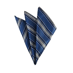 DH-129F | Royal Blue and SIlver Weave Split Striped Men's Woven Handkerchief