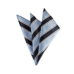 DH-130A | Powder Blue and Navy Blue Striped Men's Woven Handkerchief