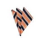 DH-130D | Light Salmon and Navy Blue Striped Men's Woven Handkerchief