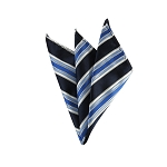 DH-131A | Navy Blue, Steel Blue and Royal Blue Multi-Striped Men's Woven Handkerchief