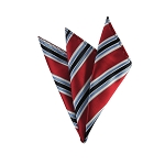 DH-131B | Red, Steel Blue and Navy Blue Multi-Striped Men's Woven Handkerchief