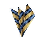 DH-131C | Honey Gold, Navy Blue and Steel Blue Multi-Striped Men's Woven Handkerchief