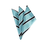 DH-132B | Sky Blue and Navy Blue Narrow Striped Men's Woven Handkerchief