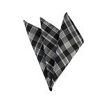DH-136 | Multi-Shade Grey and Black Striped Plaid Men's Woven Handkerchief