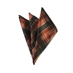 DH-137 | Brown, Copper and Rust Tartan Plaid Men's Woven Handkerchief